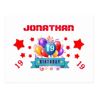 19th Save Date Birthday Balloons and Stars S17 Postcard
