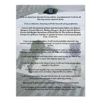 19th special forces group flash creed Print
