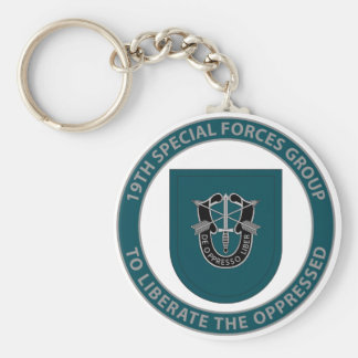 19th Special Forces Group Basic Round Button Keychain
