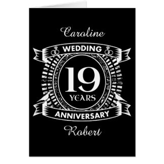 19th Wedding Anniversary Black And White Card