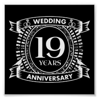 19th Wedding Anniversary Black And White Poster