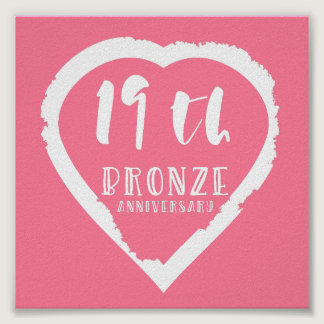 19th Wedding anniversary traditional bronze Poster