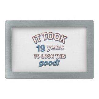 19th year birthday designs rectangular belt buckles