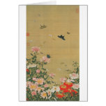 1. 芍薬群蝶図, 若冲 Flower and Butterfly, Jakuchu Greeting Cards