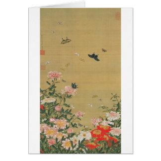 1. 芍薬群蝶図, 若冲 Flower and Butterfly, Jakuchu Card