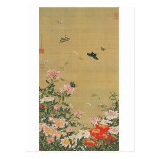1. 芍薬群蝶図, 若冲 Flower and Butterfly, Jakuchu Postcard