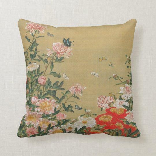 1. 芍薬群蝶図, 若冲 Flower and Butterfly, Jakuchū Throw Pillow