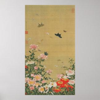 1. 芍薬群蝶図, flor y mariposa, Jakuchu del 若冲 Póster