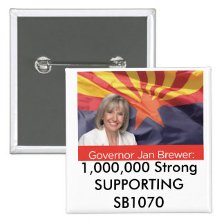 1,000,000 Strong SUPPORTING SB1070 2 Inch Square Button