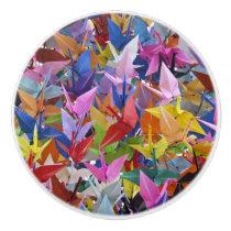 1,000 Origami Paper Cranes Photo Ceramic Knob