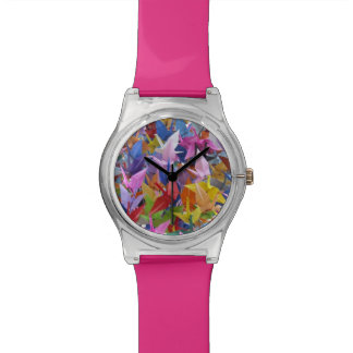 1,000 Origami Paper Cranes Photo Wrist Watches