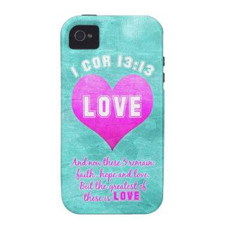 1 13:13 del corazón el más grande es cita del vers Case-Mate iPhone 4 funda