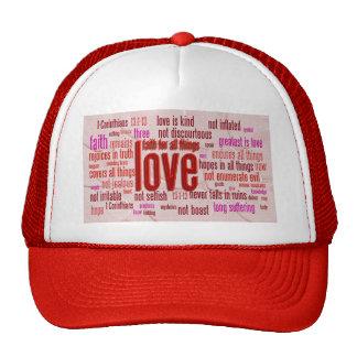 1 13:1 de los Corinthians - paño de 13 corazones Gorras De Camionero