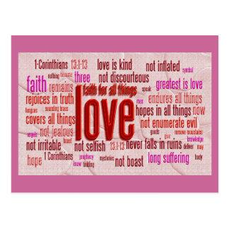 1 13:1 de los Corinthians - paño de 13 corazones Postales