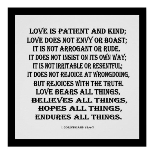 1 13:4 de los Corinthians - amor 7 Posters