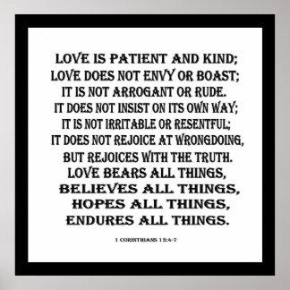 1 13:4 de los Corinthians - amor 7 Póster