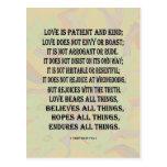 1 13:4 de los Corinthians - amor 7 Tarjeta Postal