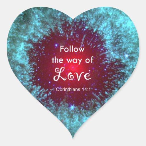 1 14:1 de los Corinthians Pegatinas Corazon