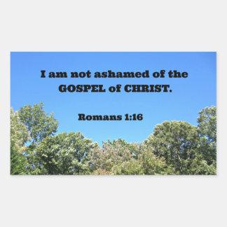 1:16 de los romanos para mí no estoy avergonzado pegatina rectangular