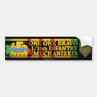 1/16th Inf. Mech. One One Bravo Bumper Sticker Car Bumper Sticker