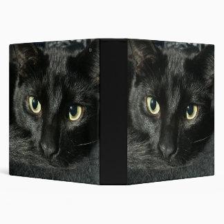 "1 1/2 "" binder with sleepy black cat"