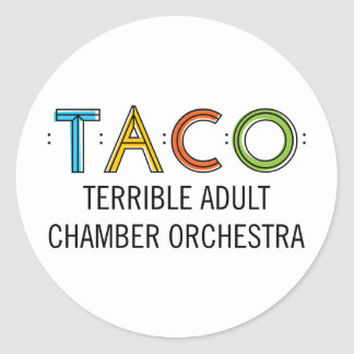 "1 1/2"" Classic Round TACO Stickers (20), Glossy"