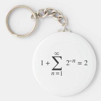 1 + 1 = 2 _ summation notation basic round button keychain