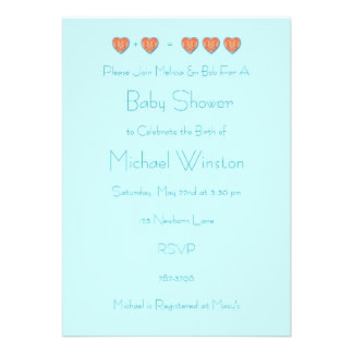 1+1=3 Baby Shower Invitation, Blue Template