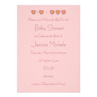 1+1=3 Baby Shower Invitation, Pink Template