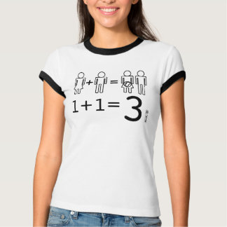 1+1=3 resuelto por un hombre, una mujer y un bebé playera