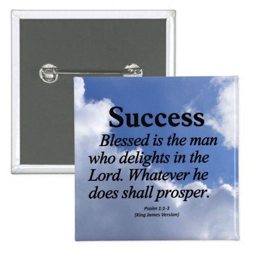 1:1 del salmo del éxito - 3 pin cuadrado
