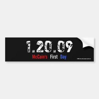 1.20.09 - El primer día de McCain Pegatina Para Auto