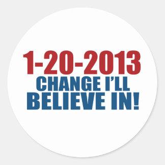 1-20-2013 el cambio cree pegatinas redondas
