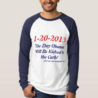 1-20-2013, el día Obama será golpeado con el pie Playera