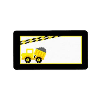 1,25 amarillos de la construcción de la dirección etiquetas de dirección