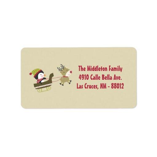 1,25 direcciones del correo de Rudolf del pingüino Etiquetas De Dirección