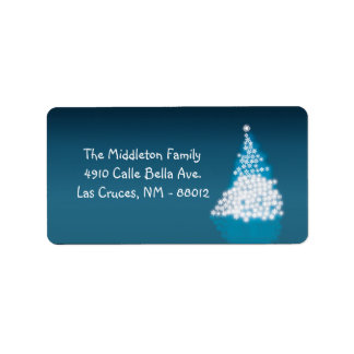 1,25 etiquetas de correo azules del árbol de etiquetas de dirección