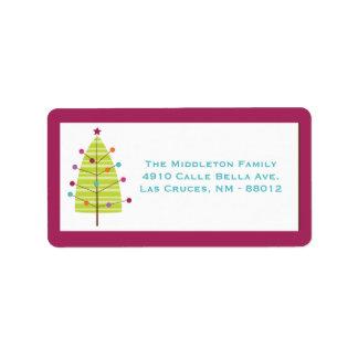 """1,25 etiquetas de correo modernas del árbol de """" etiqueta de dirección"""