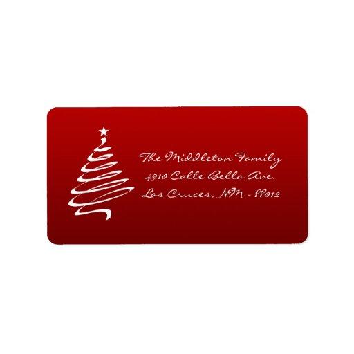 1,25 etiquetas de correo rojas del árbol de etiquetas de dirección