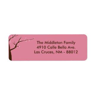 1,25 etiquetas de devolución de la flor de cerezo etiqueta de remitente