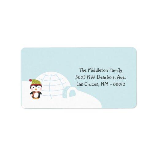 1,25 etiquetas de la dirección del correo del iglú etiqueta de dirección