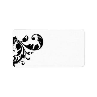1,25 florales blancos del negro de la dirección etiquetas de dirección