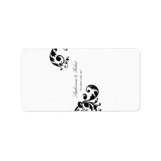 """1,25 florales blancos negros miniatura de """" x2.75"""" etiquetas de dirección"""
