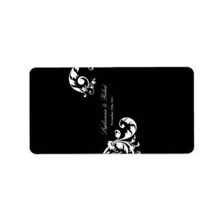 """1,25 florales blancos negros miniatura de """" x2.75"""" etiqueta de dirección"""