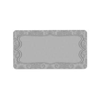 1,25 lacas grises modernas del damasco de la direc etiqueta de dirección