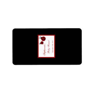 """1,25 mariquitas rojas miniatura de """" x2.75"""" etiquetas de dirección"""