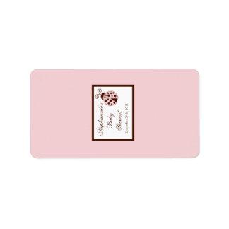 """1,25 mariquitas rosadas miniatura de """" x2.75"""" etiqueta de dirección"""