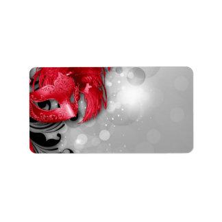 1,25 máscaras rojas de la mascarada de la etiquetas de dirección