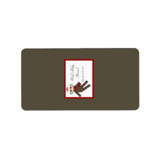 """1,25 monos rojos miniatura del calcetín de """" etiquetas de dirección"""