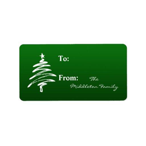 1,25 palillos verdes del árbol de Navidad de la Etiquetas De Dirección